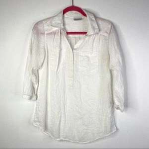 Columbia white linen collared shirt, 3/4 button up